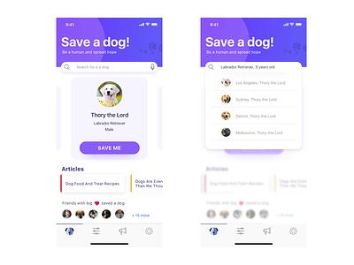 Save a dog! iphone x app concept clean user interface design sketch app ux ui pet adopt