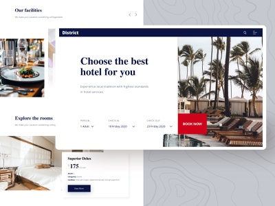 Hotel Homepage  #district minimal landingpage web design typography simple webdesign design user interface sketch app ui clean ux