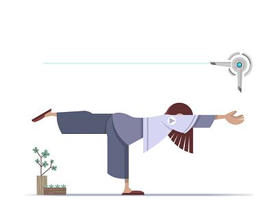 022 yoga zen tech vector character design