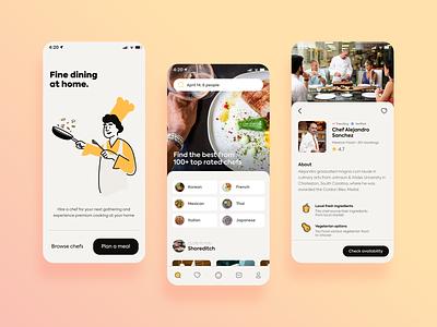 Book a Private Chef illustration explore profile intro app ui cook app concept app design