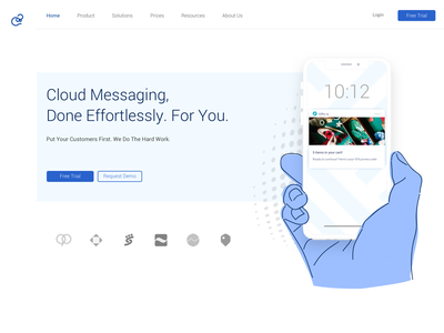 Cloud Messaging Landing illustration branding landing design landing page