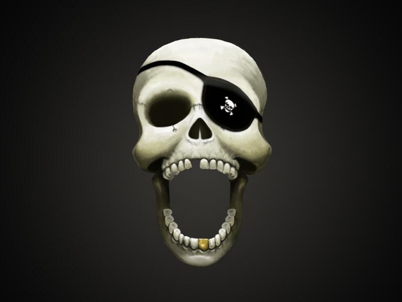 Skull skull pirate illustration digital art painting eye patch