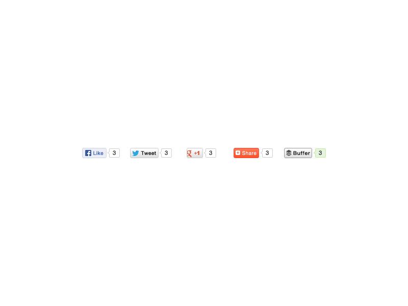 Share Buttons photoshop ps vector share buttons web ui facebook twitter google plus buffer freebie resource web design free