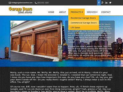 Garage Door Website design web design site dark black white business clean