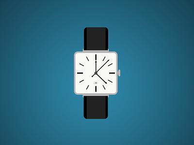 Flat Watch design watch flat photoshop black white blue clean icon illustration