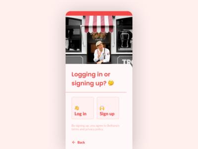 Log in / Sign up • Restaurant Management App (Belhana)
