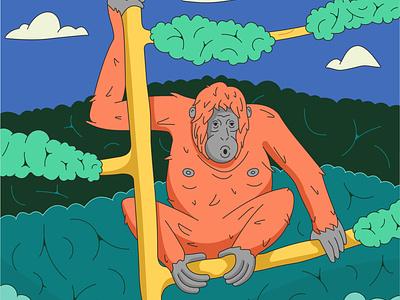 Bornean orangutan jungle monkey outline nature tree animal summer vector