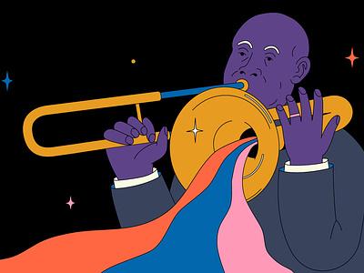 Jazz trumpeter orchestra melody festival entertainment artist concert illustration trumpeter man jazz music