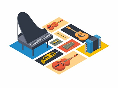 Musical Instruments guitar bass trumpet piano isometric instruments musical