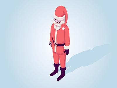 Christmas winter illustration vector claus santa isometric christmas