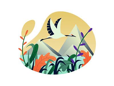 Stork floral lake illustration summer vector