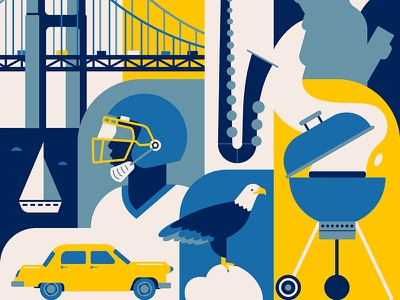 USA saxophone bridge taxi man eagle rugby road car travel vector