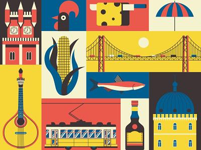 Portugal travel summer vector illustration europe set poster pattern art traditional portugal