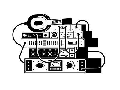 Amplifiers headphones amplifier illustration music vector