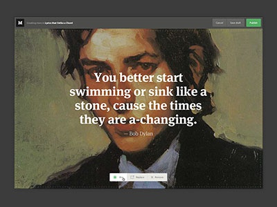 Medium quote creator quote typography elements buttons big image