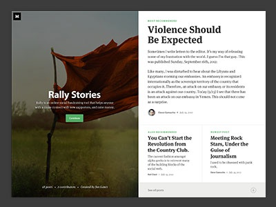 Medium collection page typography layout editorial