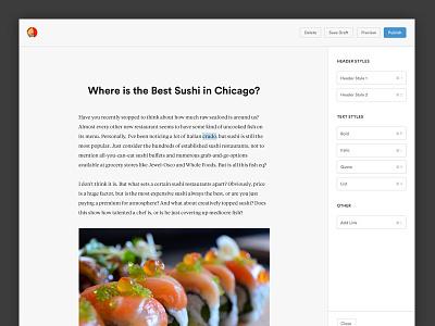 Post Creator post article text styles menu