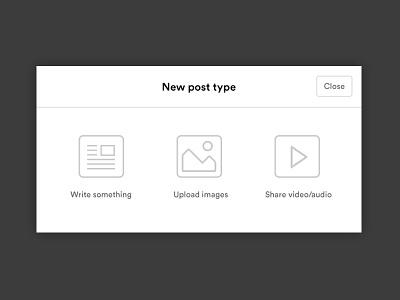 Post type menu menu image article share video icons minimal