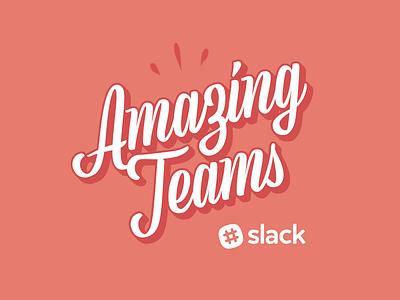 Amazing Teams Logo typography type script colour 3d logo