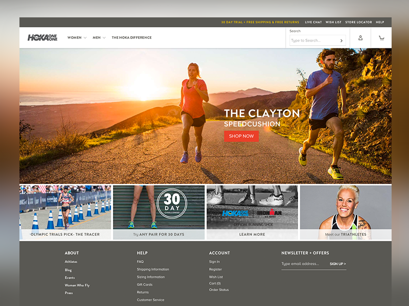 Hoka / Clayton hoka running website web ux ui design