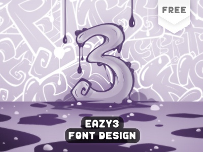 My Free Font - Eazy 3 free font typeface freebies graffiti download display dafont typography