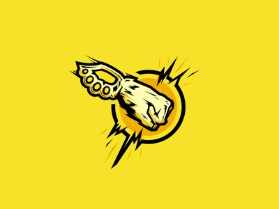 Fighters Club - Villain Logo Series evil hero hand punch fist yellow logo fighter