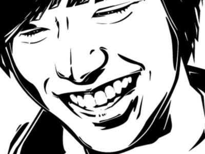 Vector illustration black artwork vector illustration lee actor asian art face smile white fanart