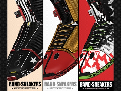 * Band Sneakers * sneakers shoes band kicks gold design red sole white laces graffiti pattern poster ad