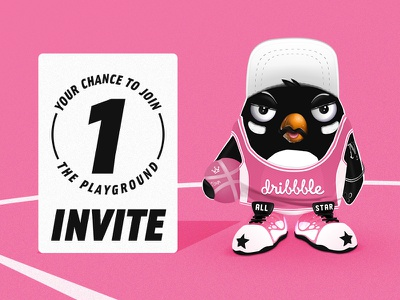 Dirbbble Invite all star jersey sneakers character design artwork illustraion playgorund join prize drawing player digital art penguin basketball dribbble invite dribbble invite