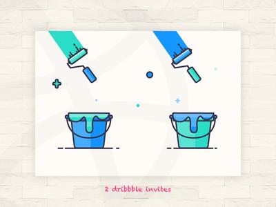 2 Invites invites design illustration texture color paint 2 invites
