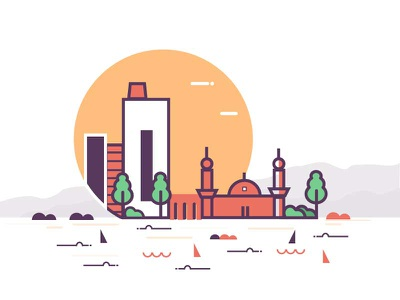 Illustration   2  fish water masjid building landscape color sunset icon illustration 2
