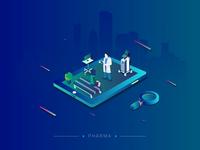 Pharma Isometric Graphics