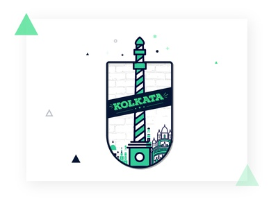 Kolkata type building kolkata logo illustrator illustration icon design clean