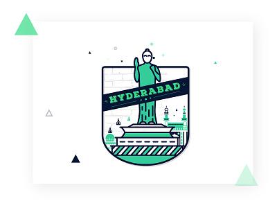 Hyderabad type logo illustrator illustration icon design clean building hyderabad