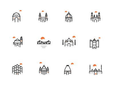 Indian Cities Icon iconography icons set icons pack lakhnow jaipur tajmahal kolkata mumbai delhi indian cites india iconset icons