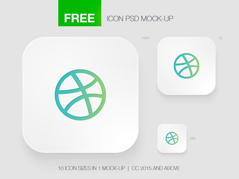 Free Icon App Mock-Up psd app retina style photoshop mockup mock-up logo icon freebie free