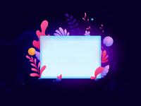 Window vector web design glow plants window illustration