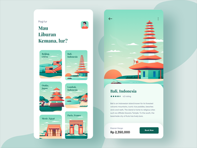 Dolin - Travel App mobile visit android ios flat travel trip destination place tour booking hotel illustration dashboard app homepage ui