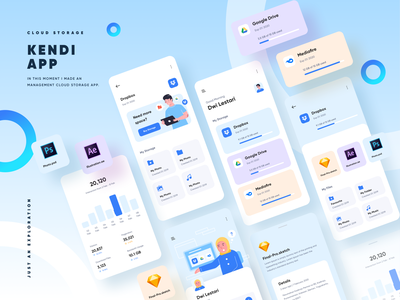 Kendi - Management Cloud Storage App ux storage server management android ios hosting folder dashboard cloud clean chart product design typography mobile homepage app ui