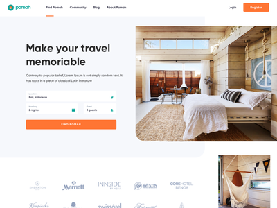 Pomah Rent House - Landing Page room stay home real estate guesthouse trip travel booking rent house website clean homepage landing page ui web design