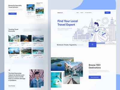 Itinza Travel Expert Landing Page web ux ui profile booking destination hotel trip travel web design website illustration landing page homepage