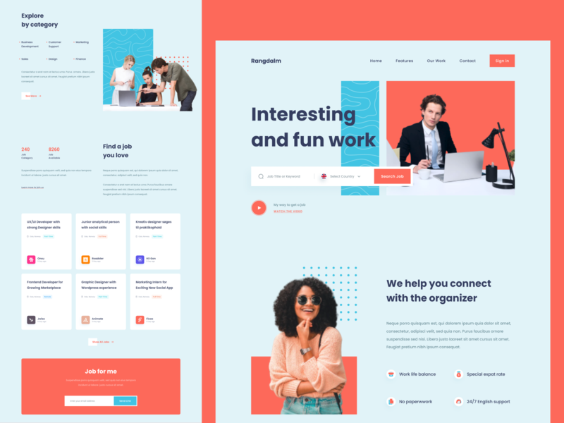 Rangdalm - Find a Jobs Landing page frontend web designer organizer contact freelance find work job profile ui website homepage landing page web design