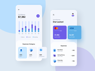 Money & Credit Card Management App payment finance banking manager financial wallet expenses credit card card management money dashboard clean ui app mobile