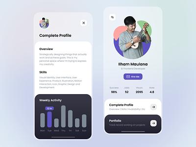 Job Profile App remote freelance job finder minimal design simple white clean dashboard profile seeker job ui app mobile