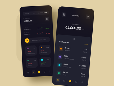Money Saving App interface ux minimalist simple clean mobile statistic dark graphic banking app application money transfer money credit card bank finance payment wallet app ui