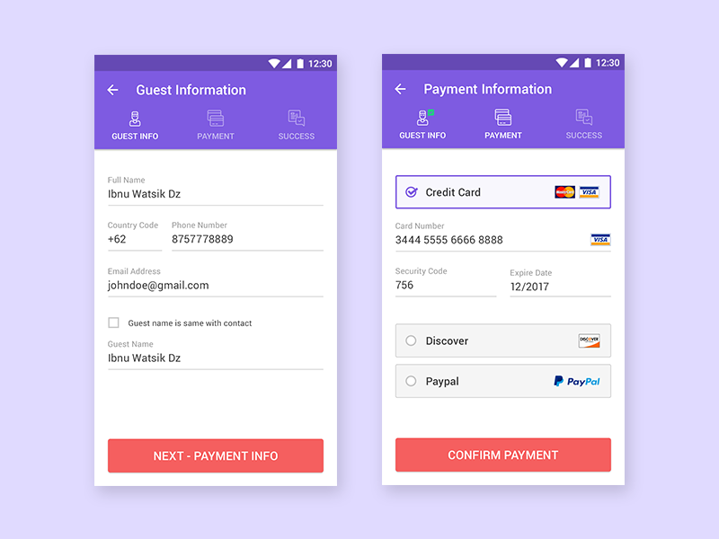 Checkout payment process for booking hotel by piko rizky for Hotel booking design