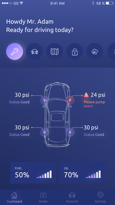 Smart car dashboard