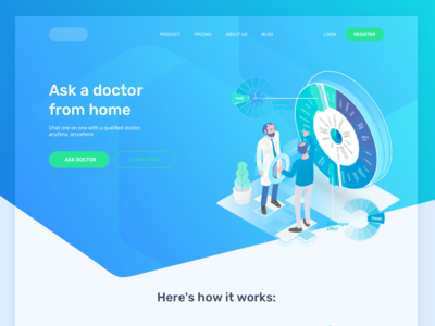 Ask Doctor Landing Page health medical isometric consultation ask doctor illustration ui homepage website page landing