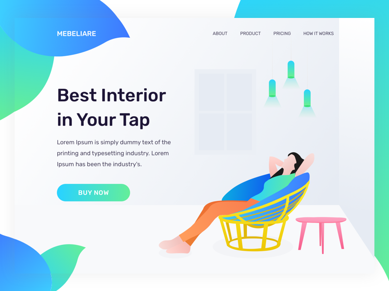 Interior Landing Page landing page homepage website interior home properties chair table ui illustration