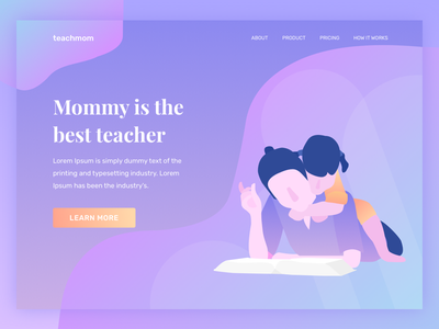 Teachmom Landing Page Illustration homepage ui header landing page illustration child education reading learn parent